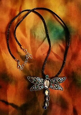 Dragonfly Blue stones  necklace 18 inch black nylon cord Beautiful colors LOVE