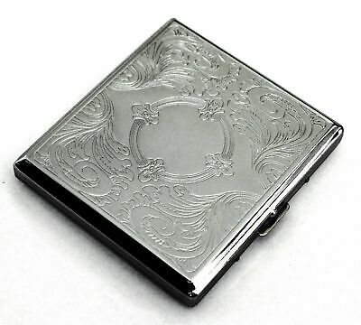 20 Cigarette Etched Metal Case Tobacco Cigarette Holder Comtainer Box Silver New