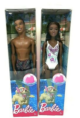 Barbie Ken Beach Doll Barbie Beach Doll White Swimsuit AA Ages 3+ Lot of 2 NEW