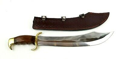 """Pakistan Bowie Knife Curved Edge Brown Leather Sheath 13"""" Stainless Blade Wood"""