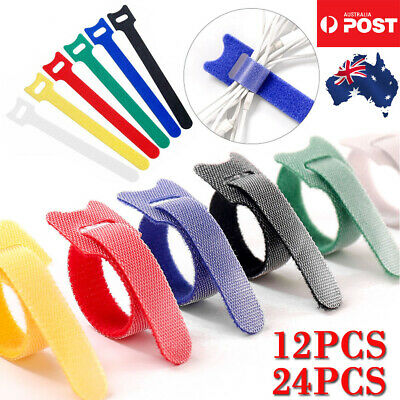 24/12PCS Hook Loop Magic Cable Ties Reusable Velcro Coded Organiser Cords AU