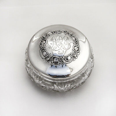 Large Dresser Jar Sterling Silver Cut Crystal Geo Shreve San Francisco 1910