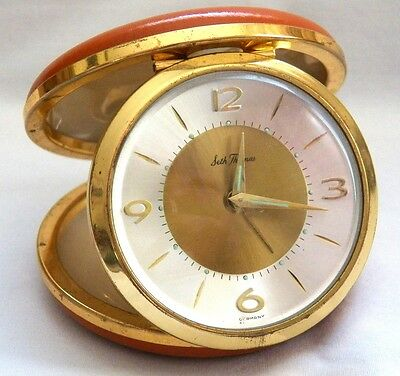 Vintage Seth Thomas Gold & Silver Tone, Glow, Travel Alarm Clock Made In Germany