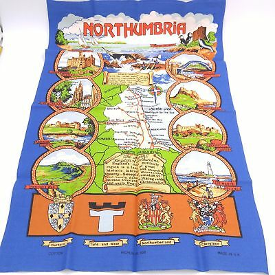 "Northumbria Informational Souvenir Cloth Map Wall Hanging 19""x 30"""