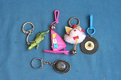 vintage lot of 5 plastic Key Chain KeyChain 1980's toy