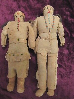 Old Plains / Native American Beaded Dolls very old with sewn hide and beadwork