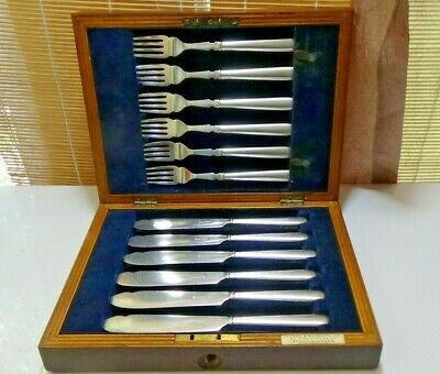 Antique Harrison Bros Boxed Fish Service / Cutlery - Silver Plate - Fairfax Box