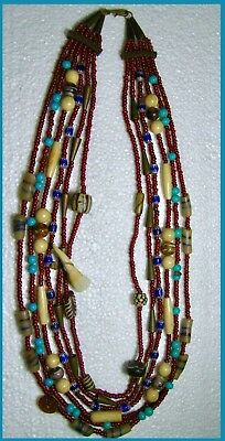 Pre-Ww Ii-Antique 6-Strand African Tribal Necklace~Venetian Trade Beads, Brass+