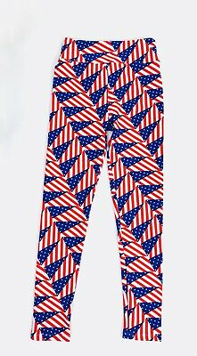 LULAROE Leggings Tween Sz 8 - 14 Red White Blue American Flag Americana NWOT