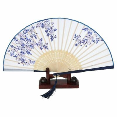 Chinese Folding Hand Held Fan Japanese Rose Flower Silk Bamboo Vintage Fans