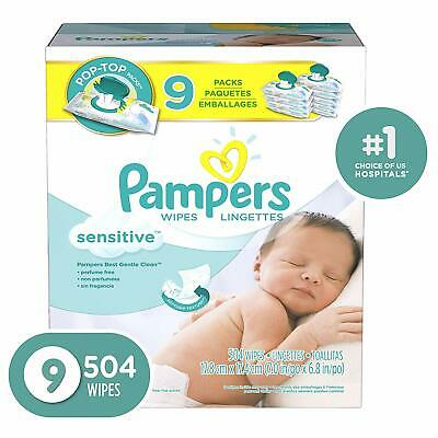 Pampers Sensitive Water-Based Baby Diaper Wipes, 9X Pop-Top