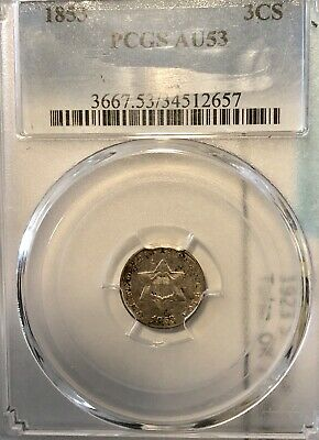 1858 Silver Three Cent PCGS AU53.         PCGS Price Guide $235.
