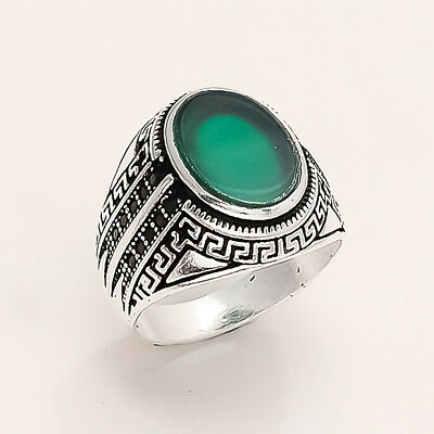 Real Ottoman Mens Signature Ring 925 Sterling silver Green Onyx Fine Jewelry New