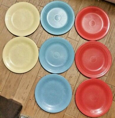 """Lot of 8 Vintage Homer Laughlin Fiesta Ware 10.5"""" Dinner Plates Blue Yellow Red"""