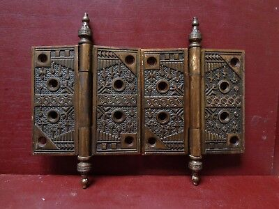 "2 ANTIQUE READING HARDWARE WINDSOR 4.5"" X 4.5 DOOR HINGES C1880s"