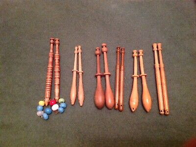 6 Pairs Of Wooden Lace Bobbins Free Postage