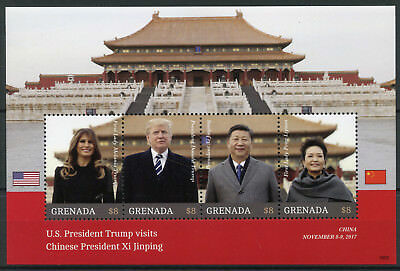 Grenada 2018 MNH Donald Trump Visit China Xi Jinping 4v M/S US Presidents Stamps