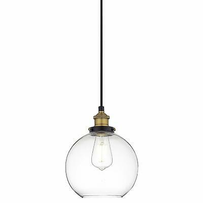 Antique Brass Hanging Fixture Primo Industrial Kitchen, Pendant Glass Ball Light