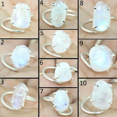Natural Blue Fire Moonstone Rainbow Silver Plated Adjustable Prong Setting Rings