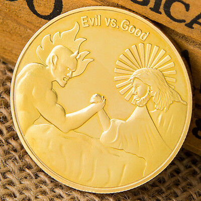 Evil VS Good Gold Plated Commemorative Coin Collection Art Gifts Challenge _F