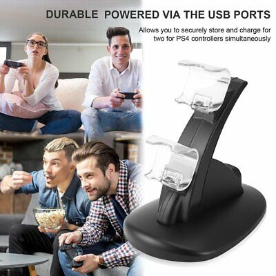 LED Dual USB Charger Docking Station for Playstation of PS4 Gamepad Joystick QL