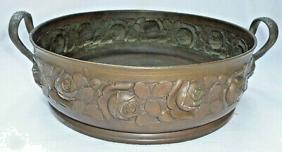 VINTAGE ART NOUVEAU BRASS BOWL with EMBOSSED ROSES PATTERN  - 22cm diameter