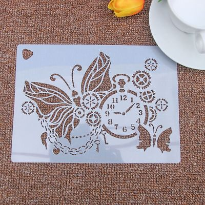 Classical Gear Clock Butterfly Stencil Airbrush Painting Art Cake Spray MoldsDIY