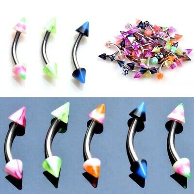 5PCS Mixed Lot Cone Barbell Curved Eyebrow Piercing Stainless Steel Rings Bar