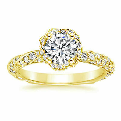 1.10ct Round Cut Bridal Diamond Halo Engagement Ring Solid 10K Yellow Gold