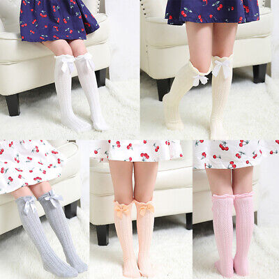 Baby Girls Knee High Cotton Lace Socks Long Princess Meias with Bow Stockings