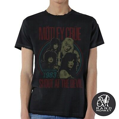 Motley Crue Vtge Shout At The Devil 83 Tour Men Black T-Shirt