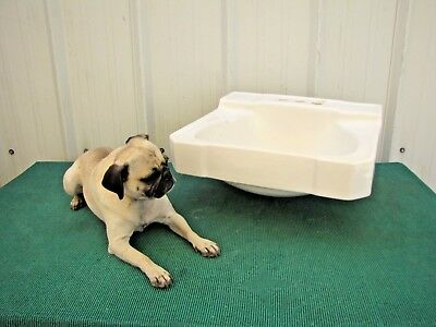 "Vintage Antique Ivory Porcelain Bathroom Bath Sink Wall Mount 19""x 17"""