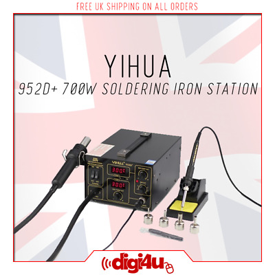 NEW 2IN1 ESD Safe 700w YIHUA 952D+ Hot Air Soldering Iron Rework Station UK 2019