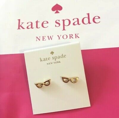 bf7a4c3825df9 NWT AUTHENTIC KATE Spade Lookout Goreski Glasses Studs Earrings Gold ...