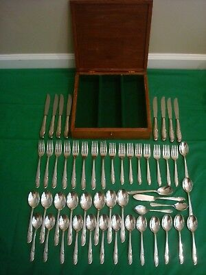 WM Rogers & Son Fork Knife Spoon Wood Box 51 Piece Plated Flatware Set Rose