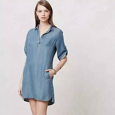 9969ec8a005 Anthropologie Cloth   Stone Dress Small tunic shirtdress pockets Chambray  Tencel