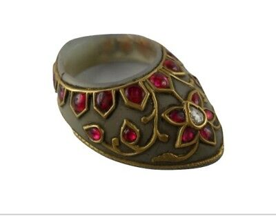 Mughal style jade archer thumb ring studs with 24 kt real gold and precious gems