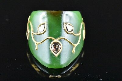 Mughal green jade archer thumb ring studs with 24 kt real gold and uncut diamond