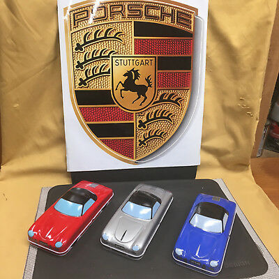 Vintage Set Of Tin Porsche 356 Pencil Cases/Trays! Red, Blue & Silver W/Trays!