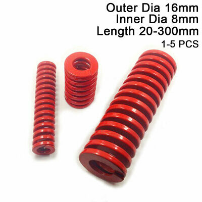 16mm OD Red Medium Load Compression Stamping Mould Die Spring 8mm ID All Sizes