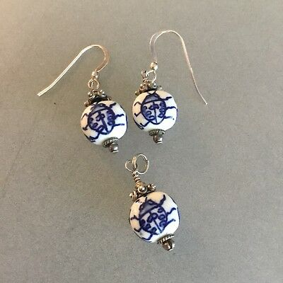 Scarab Ceramic White & Blue & Sterling Silver Pendant With Matching Earrings