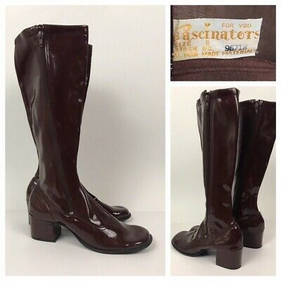 RARE 1960s Brown Boots / Original NOS Black Vinyl Knee High Boots / Women's 8