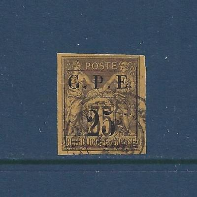 """Guadeloupe - 2 - Used - 1884 - """"g.p.e. +25"""" O/p On French Colonies Stamp"""