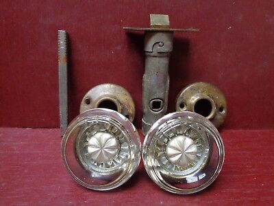 Antique Glass Door Knobs & Rosettes Passage Set Patent 1910 #1