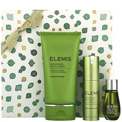 Elemis Superfood Super Skin Kit Gift Set. Boxed.Rrp £95.Face Oil, Wash,Day Cream