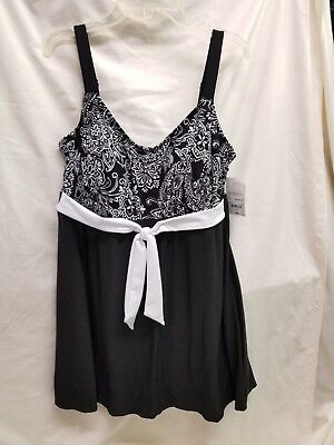 d8b8929cf4 Le Cove Paisley Swim Dress Size 12 Msrp $96.00 NWT Lady Swimsuit Black and  White