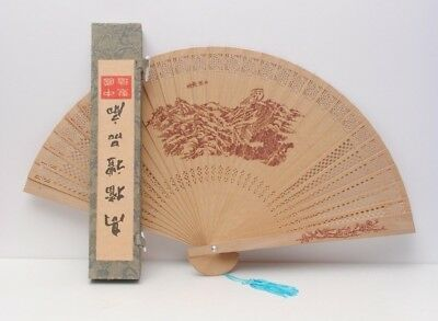 Vintage Chinese Wooden Fan Hand Decorated Original Box Fragrance Forbidden City