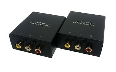 Component Video RCA/Phono Stereo Audio over Cat5e Ethernet 300m Extender Set
