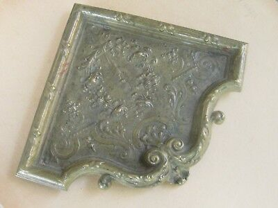 Antique French Heavy Bronze Ornate Corner TRAY Dish - 1900's