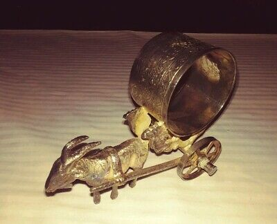 "Vintage Goat Pulling Two-Wheels Wagon Napkin Ring Silver Plate 4 1/8"" L,3 1/8""H"